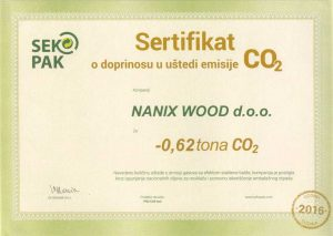 Sertifikat O DOPRINOSU U UŠTEDI EMISIJE CO2